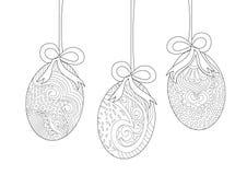 Ovos da páscoa de suspensão com linha Art Drawing da curva ilustração stock