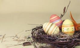 Ovos da páscoa decorativos bonitos no ninho Imagem de Stock