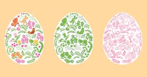 Ovos da páscoa decorativos do vetor no fundo branco - ornamento floral ilustração royalty free