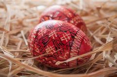 Ovos da páscoa decorativos em um ninho Imagem de Stock