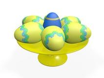 Ovos da páscoa decorativos em uma bandeja Fotos de Stock
