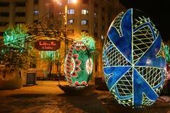 Ovos da páscoa decorativos na noite Fotografia de Stock