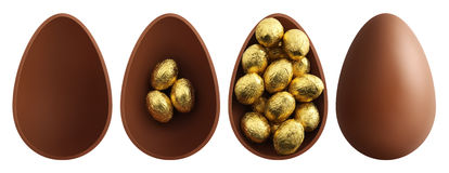 Ovos da páscoa do chocolate no fundo branco Imagens de Stock Royalty Free