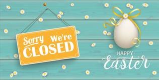 Ovos da páscoa dourados felizes Daisy Wooden Closed Turquoise Header ilustração royalty free