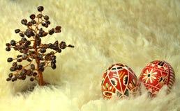 Ovos da páscoa e árvore vermelhos da grandada na pele de carneiro Foto de Stock Royalty Free