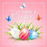 Ovos da páscoa e borboletas no fundo cor-de-rosa ilustração stock