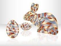 Ovos da páscoa e coelho coloridos. Fotos de Stock Royalty Free