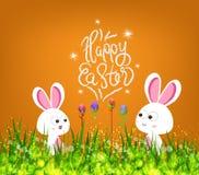 Ovos da páscoa e coelho felizes ilustração royalty free