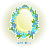 Ovos da páscoa e esquecer-mim quadro das flores Imagens de Stock Royalty Free
