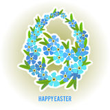 Ovos da páscoa e esquecer-mim quadro das flores Fotografia de Stock Royalty Free