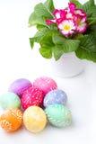 Ovos da páscoa e flores coloridos da mola Fotos de Stock