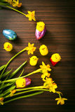 Ovos da páscoa e pintainhos com as flores no fundo de madeira Imagem de Stock
