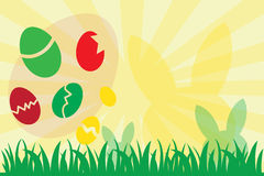 Ovos da páscoa e silhueta do coelho Imagens de Stock Royalty Free
