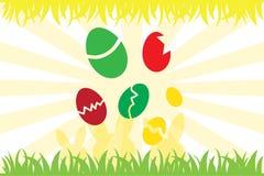 Ovos da páscoa e silhueta do coelho Foto de Stock