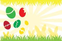 Ovos da páscoa e silhueta do coelho Imagens de Stock