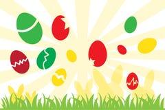 Ovos da páscoa e silhueta do coelho Imagem de Stock