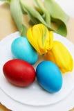 Ovos da páscoa e tulipas Imagem de Stock Royalty Free