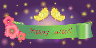 Ovos da páscoa felizes da bandeira da fita, borboleta Fotos de Stock Royalty Free