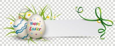 Ovos da páscoa felizes da fita de papel do verde da bandeira ilustração do vetor