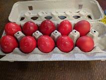 Ovos da páscoa fervidos duros em umas caixas Fotografia de Stock Royalty Free