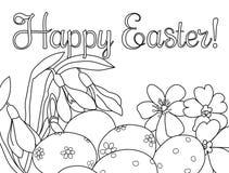 Ovos da páscoa festivos do cartão e flores da mola preto e branco para fora ilustração royalty free