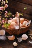 Ovos da páscoa na cesta de vime no fundo de madeira Imagens de Stock Royalty Free