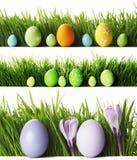 Ovos da páscoa na grama Imagens de Stock