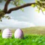 Ovos da páscoa na grama na frente de uma cena da mola Imagens de Stock Royalty Free