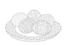 Ovos da páscoa na página da coloração da placa ilustração stock