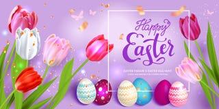 Ovos da páscoa no fundo violeta ilustração royalty free