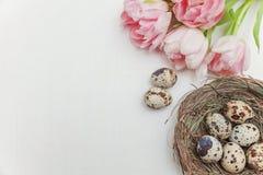 Ovos da páscoa no ninho e nas tulipas Imagem de Stock