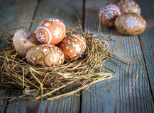 Ovos da páscoa no ninho no fundo de madeira rústico Imagem de Stock Royalty Free