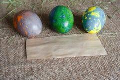 Ovos da páscoa no saco Imagem de Stock Royalty Free