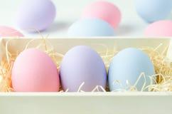 Ovos da páscoa pasteis na cesta de madeira Fotografia de Stock Royalty Free