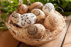 Ovos da páscoa pintados com cera Fotografia de Stock Royalty Free