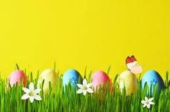Ovos da páscoa pintados em uma grama verde em um prado e em flores Fotografia de Stock Royalty Free