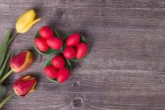 Ovos da páscoa vermelhos no ninho verde e em tulipas coloridas fotografia de stock royalty free