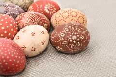 Ovos da páscoa ornamentado, composição de canto Imagem de Stock