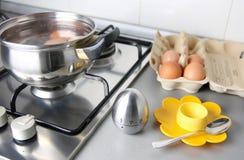 Ovos de Boilling imagem de stock