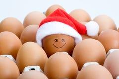 Ovos de Brown e um chapéu de Santa, isolado Foto de Stock Royalty Free