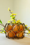 Ovos de Brown em uma cesta de fio Imagem de Stock Royalty Free