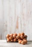 Ovos de Brown na bandeja do fio de galinha com espaço da cópia Fotos de Stock Royalty Free