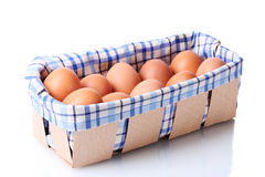 Ovos de Brown na caixa Foto de Stock Royalty Free