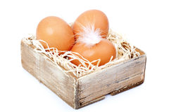 Ovos de Brown no feno, na caixa velha Imagem de Stock Royalty Free