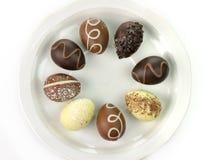 Ovos de chocolate imagens de stock