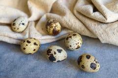 Ovos de codorniz com o pano bege no fundo azul Imagens de Stock Royalty Free