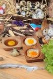 Ovos de codorniz e ovos de codorniz fritados de delicioso Fotografia de Stock
