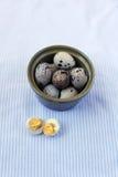 Ovos de codorniz na bacia cerâmica Fotografia de Stock Royalty Free