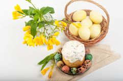 Ovos de codorniz Ovos pintados para Easter Ainda lifes coloridos Foto de Stock