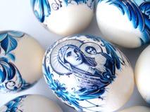 Ovos de easter azuis bonitos fotografia de stock royalty free
